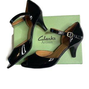 New Clarks Artisan Black Peep Toe Kitten Heels 9